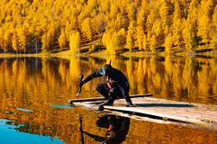 Undervattens- jakt i den Siberian taigaen arkivfoton