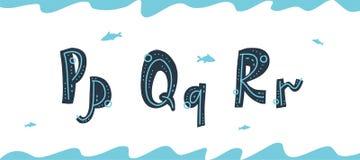 Undervattens- latinska bokst?ver P, Q, R f?r vektor i skandinavisk stil royaltyfri illustrationer