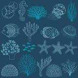 Undervattens- livdesignbeståndsdelar Royaltyfri Fotografi