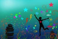 undervattens- lycklig deltagare Arkivfoton