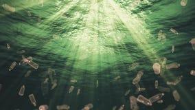 Undervattens- plast- buteljerar avfall i havöglan stock video