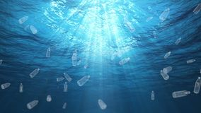 Undervattens- plast- buteljerar avfall i havöglan lager videofilmer