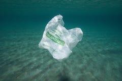 Undervattens- plastpåse för plast- förorening royaltyfri foto