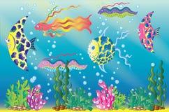Undervattens- plats med den exotiska fisken och havsgräs vektor illustrationer