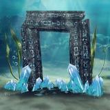 Undervattens- port med kristaller stock illustrationer