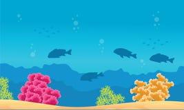 Undervattens- samling för för skönhetlandskaprev och fisk Arkivbilder