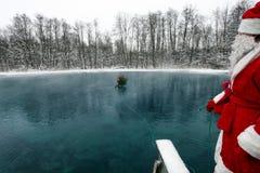 Undervattens- Santa Claus Arkivbild