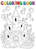 Undervattens- slott 1 för färgläggningbok vektor illustrationer