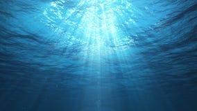 Undervattens- solstrålar i havet (öglan) stock video