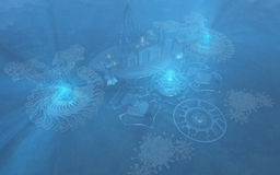 Undervattens- stad Royaltyfri Bild
