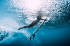 Undervattens- surfarekvinnadyk Surfgirl dyk under våg arkivfoton