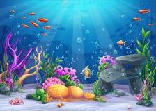 Undervattens- tecknad filmillustration vektor illustrationer