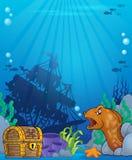 Undervattens- temabakgrund 6 för hav Royaltyfri Foto