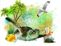 Undervattens- tropisk värld på en abstrakt vattenfärgbakgrund stock illustrationer