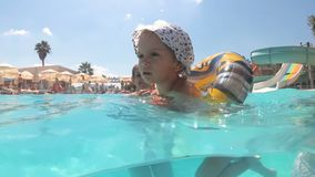 Undervattens- ultrarapidlängd i fot räknat av liten litet barnpojkesimning med den uppblåsbara cirkeln i simbassäng på den soliga lager videofilmer