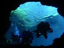 undervattens- undersökning för 5 grottor Arkivfoton