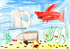 Undervattens- värld. barnteckning. Fotografering för Bildbyråer
