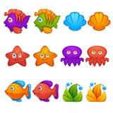 Undervattens- värld, fisk, stjärnor, bläckfisk, bubblaskytt, match 3, stock illustrationer