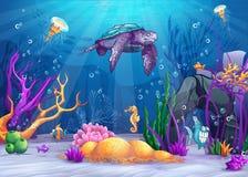 Undervattens- värld med en rolig fisk och sköldpadda Arkivbild