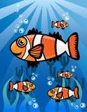 Undervattens- världstecknad filmillustration Vektor Illustrationer