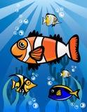 Undervattens- världstecknad filmillustration Stock Illustrationer