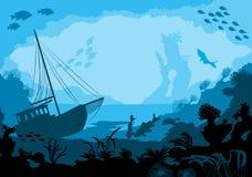 Undervattens- värld för hav med olika djur Fotografering för Bildbyråer