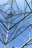 Underview of Structured  Metal Engineering of Overhead Electrici Royalty Free Stock Photos