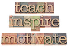 Undervisa, inspirera, motivera Royaltyfri Bild