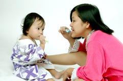 undervisande tandborste Fotografering för Bildbyråer