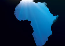 Underwater_Ocean_Rocks_Africa. Underwater view from a cave in the shape of the continent Africa royalty free illustration