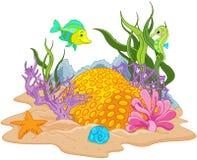 underwater рифа ландшафта рыб коралла тропический Стоковые Изображения