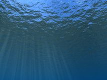 Underwater. Beams of the sun waters passing through thickness Royalty Free Stock Photo