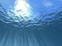 Underwater. Beams of the sun waters passing through thickness (a kind on the sky from under waters Stock Images