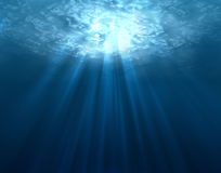 Underwater. Digitally made underwater scene with sun rays Royalty Free Stock Images