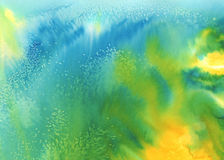 Underwater abstract watercolor background. Abstract watercolor painted background. Bright yellow, green, blue colors used, childish look Royalty Free Stock Image