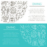 Underwater activity vector icons Stock Images