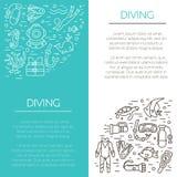 Underwater activity vector icons Stock Photos