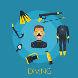 Underwater activity vector icons Royalty Free Stock Photography