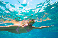 Underwater adventure of a young girl in the tropical sea Stock Photography