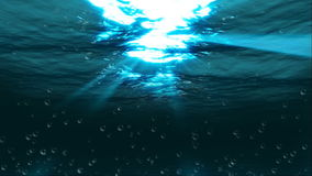 Underwater air bubbles sunbeam, stock footage stock video