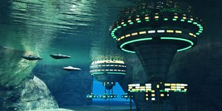 Underwater Alien Cave. Several spaceships leave an underwater alien city hidden in a coastal cave system here on Earth Royalty Free Stock Photography