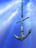 Underwater anchor stock illustration