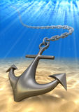 Underwater anchor and volume light. Travel  illustration. Underwater anchor and volume light. Travel 3d illustration Stock Images