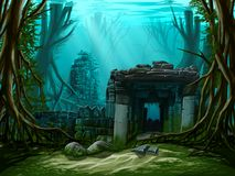 Underwater ancient town vector illustration