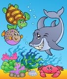 Underwater animals and fishes 1. Illustration Stock Images