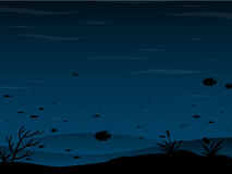 Underwater background. Dark underwater background with fish stock illustration