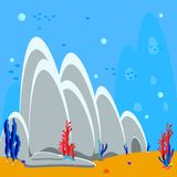 Underwater background cartoon illustration of rocks and seaweed on the sandy bottom. Bubbles water and silhouette fish, algae and vector illustration
