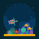 Underwater background coral garden with glossy water surface. Colorful fish playing vector illustration.  with various water plant and swimming tropical fish Royalty Free Stock Image