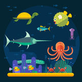 Underwater background coral garden with glossy water surface colorful fish playing vector. Royalty Free Stock Images