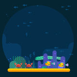 Underwater background coral garden with glossy water surface colorful fish playing vector. Stock Photo